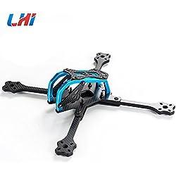 LHI Lightning Race 215mm 4mm 3K Full Carbon Fiber Frame Kit Blue / Black for RC Racing Racer Drone Toy DIY(Blue)