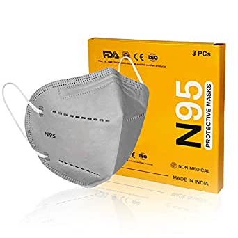 N95 Face Mask With 5 Layer Protection & Adjustable Nose-pin, FDA Approved, CE, ISO, WHO Certified For Men & Women (Grey)