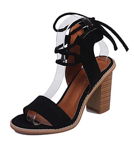 Minetom Damen Sommer Elegante Knöchelriemchen Sandalen Bequeme Hoch Absatz Lace up Peep Toe Plattform Schuhe Sandals Schwarz EU 35 -