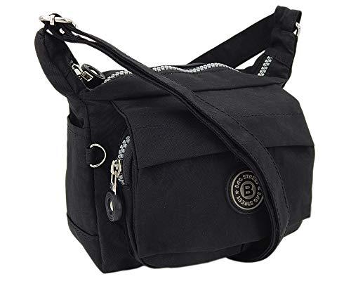 Moderne und zugleich sportliche Damen-Handtasche Umhängetasche aus hochwertigem wasserabwesendem Crinkle Nylon (Schwarz) -