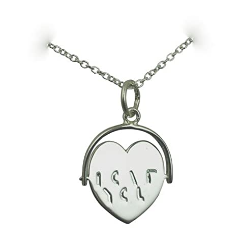 Silver 16x16mm I Love You heart spinning disc Pendant with a rolo Chain 24 inches