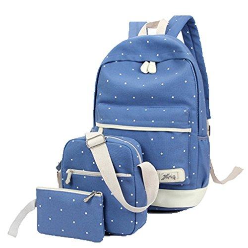 Ohmais 3PCS Rücksack Rucksäcke Rucksack Backpack Daypack Schulranzen Schulrucksack Wanderrucksack Schultasche Rucksack für Schülerin blau