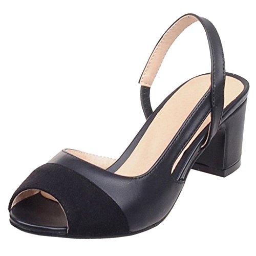 COOLCEPT Femmes Mode Bloc Talon Bas Sandales Slingback Peep Toe Soiree Chaussures Noir