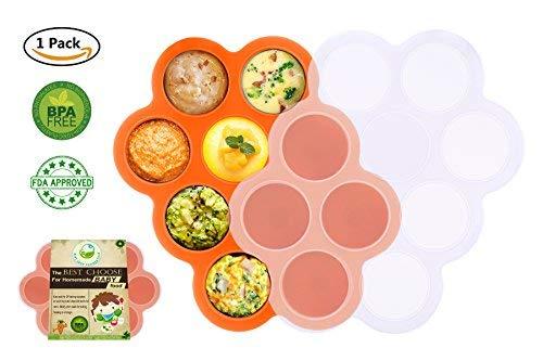 Silikon Baby Food Gefrierschrank Tray Mit Deckel - Wiederverwendbare Mold Storage Container Hausgemachte Baby Food - Gemüse, Obst Purees, Brust Milch und Eiswürfel - BPA Frei & FDA Zugelassen - Orange
