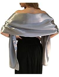 Impresionante sedoso raso satin abrigo de la boda Wrap nupcial de la estola del mantón bufanda Pashmina Bodas novias Las damas de honor en el Marfil Blanco Negro Azul Plata Oro Rosa Gris Verde