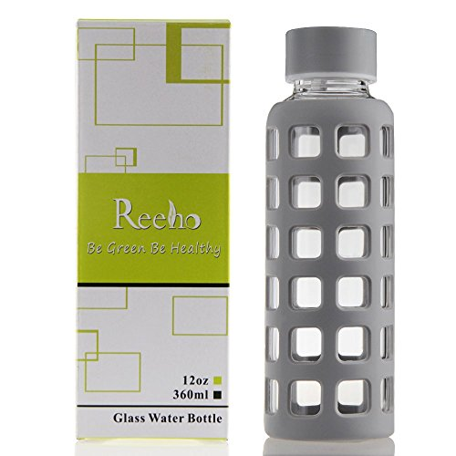 Reeho® Borosilicate Bottiglia di Vetro di Acqua con Manicotto in Silicone, Bottiglie d'acqua per Sport [BPA Libero] (Grigio, 360ml)