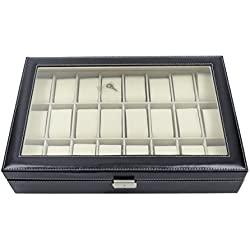 Faux Leather Watch Display Box 24 Grids