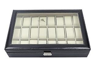 Esponi la tua collezione preferita di orologi grazie a questa scatola di alta qualità con un tocco di eleganza. Questa scatola per orologi, perfetta per uso personale e di affari, è dotata di 24 scomparti ognuno arricchito da altrettanti cuscinetti r...