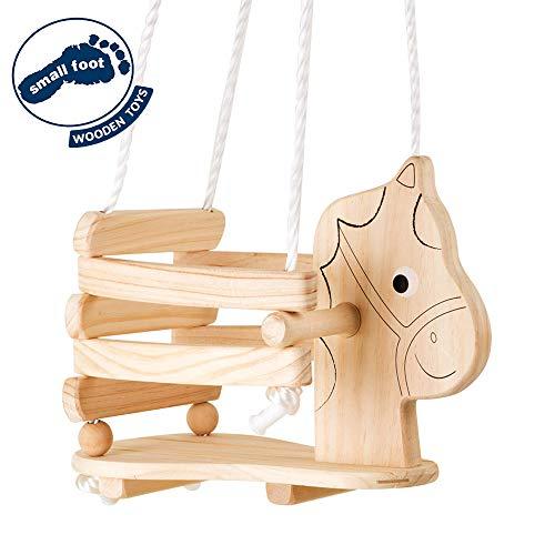 """small foot 4774 Kinderschaukel \""""Pferd\"""" aus Holz, mit Umrandung und Griffen für  eigenständiges Sitzen, ab 2 Jahren"""