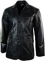 Mens Real Leather Jacket Black Smart Casual Classic Blazer Retro Vintage
