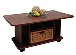 kolonial couchtisch beistelltisch mit korb kiefer massiv farbe mocca 100x60 cm. Black Bedroom Furniture Sets. Home Design Ideas