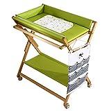 Wickeltisch Portable Baby Wickeltisch, multifunktionale Faltbare Massivholz Baby Care Tabelle, Cross Leg Style, grün (größe : Style2)