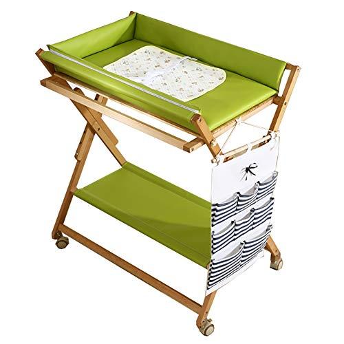 Table à Langer Table à Langer Portable, Table de Soins bébé en Bois Massif Pliable Multifonctionnel, Style croisé, Vert (Taille : Style2)