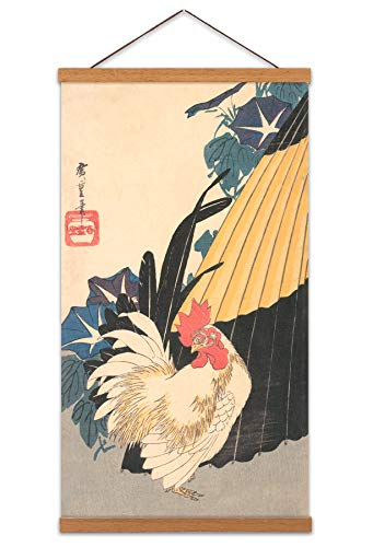 Utagawa Hiroshige Rooster Umbrella and Morning Glories Canvas Wall Art Print Poster Magnetic Hanger Clip Frame 24x12 Inch Regenschirm Wand - Clip-art Frames
