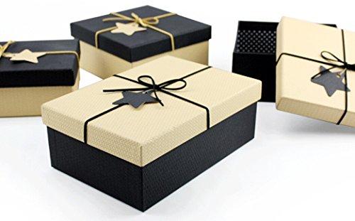 Dhjust rettangolare scatole regalo piccoli astucci per gioielli, 19*19*9,coperchio bianco