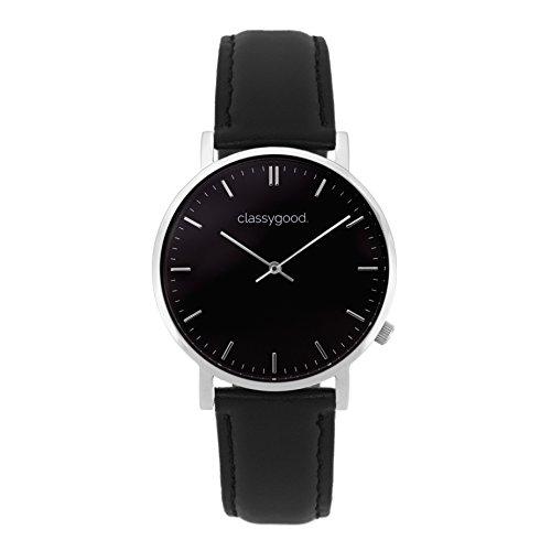 """classygood. \""""Classic\"""" Damen/Herren Uhr Analog Quarzuhrwerk mit Leder Armband schwarz Silber Zifferblatt schwarz (40mm)"""