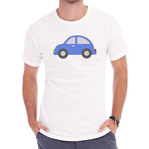 Car Vehicle Four Wheels Auto Blue Simple Herren T-Shirt Weiß