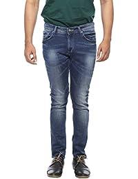 Spykar Mens Mid Blue Super Skinny Fit Low Rise Jeans - B06VVST2CG