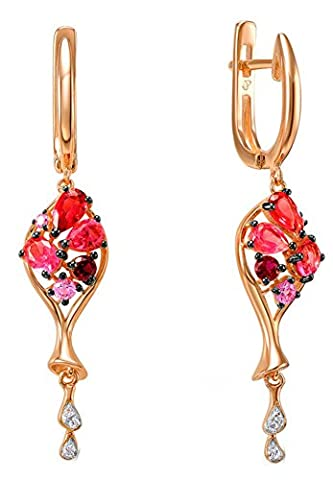 SaySure - Silver Drop Earrings for Women Created Pink Stone