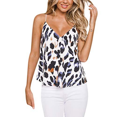 SUMTTER Weste Bluse Vest Blouse Hemdbluse Tops Damen Pullover ärmellos V-Ausschnitt Bluse Damen Print Camisole Tops