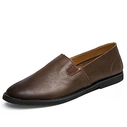 Homme Maison Mode Loisirs Chaussures En Cuir Ballerines Chaussures Décontractées Respirant Chaussures Paresseux Antidérapante Euro Taille 38-44 Marron