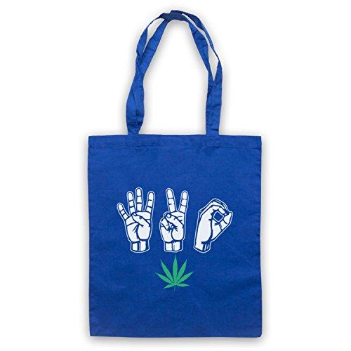 420 Cannabis Leaf Weed Pot Culture Fingers Umhangetaschen Blau