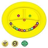 Babylovit Zertifizierter BPA-freies Esslernteller, Babyteller, Babygeschirr, Teller für Baby und Kleinkinder Rutsch und Saugfest (Gelbe AFFE)