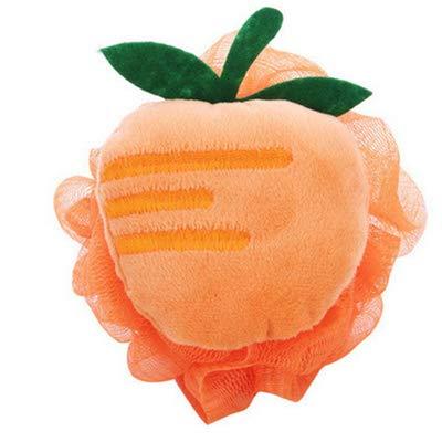 J-UEK Baumwolle Baby Badebürste Cartoon Weichen Schwamm Puderquaste Nette Kinder Infant Dusche Produkt Reiben Handtuch Bälle Orange -