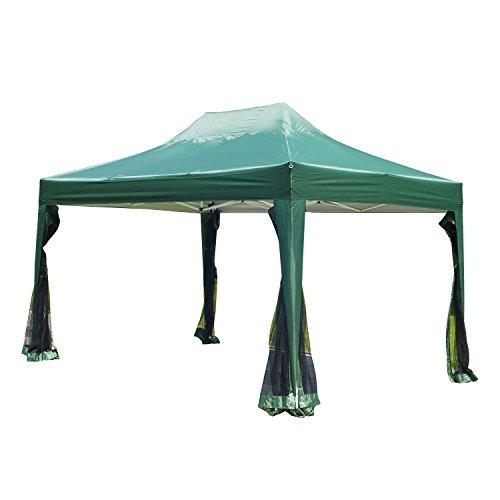 Outsunny® Faltpavillon Pavillon Faltzelt Partyzelt Gartenzelt inkl. Seitenteilen grün 3x4,5m