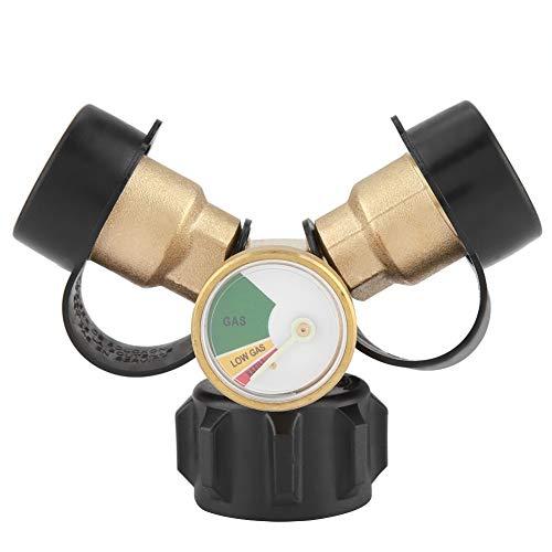 Propan-Verteiler - Propan-Y-Verteiler-T-Adapter, Messing-BBQ-Propan-Adapter Mit Tankanzeige, 2-Wege-LP-Gas-Adapter-T-Anschluss Für BBQ-Grills, Campingkocher -