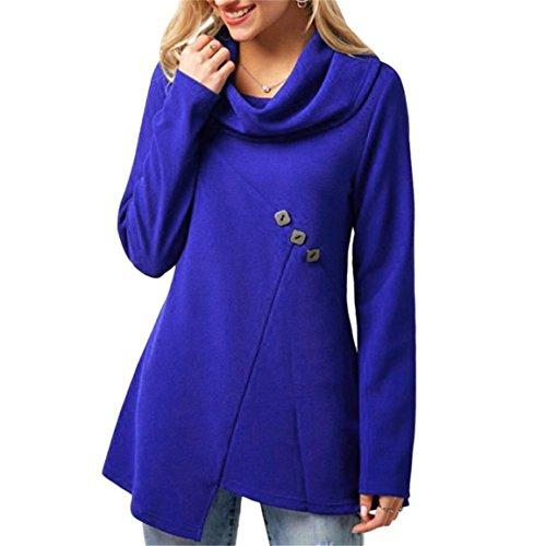 Moonuy Frauen Lange Bluse, Kutte Rollkragen Hals Knopf Verschönert Royal Blue Shirt Casual Solid Top Frühling Langarm Freizeit Pullover (Blau, EU 34/Asien S) (Verschönert Herren)