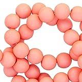 Sadingo Acrylperlen, Kunststoffperlen matt - 50 Stück - 10 mm - Schmuck selber Machen, Bunte Bastelperlen, Perlen für Kinder, Farbe:Rosé Peach