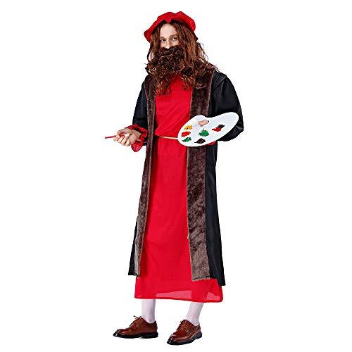 kMOoz Halloween Kostüm,Outfit Für Halloween Fasching Karneval Halloween Cosplay Horror Kostüm,Halloween Kostüm Erwachsenen Herren Ölmaler Renaissance Cos Cosplay Kostüm Kostüm (Renaissance Kostüm Männlich)