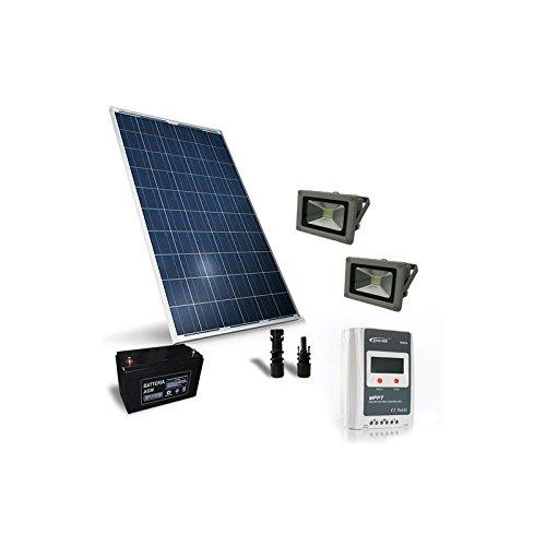 Kit solar iluminación 260W 12V para exteriores con 1X foco LED 30W fotovoltaico     Los kits solares iluminación para exteriores pueden ser utilizados para iluminar sus entornos externos como caminos, cenadores, piscinas, jardines, recintos, apar...