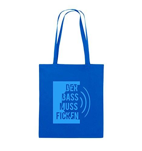 Comedy Bags - DER BASS MUSS FICKEN - Jutebeutel - lange Henkel - 38x42cm - Farbe: Schwarz / Silber Royalblau / Blau