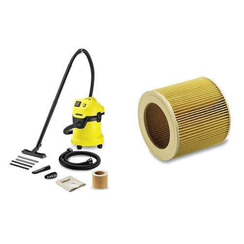 Kärcher Mehrzwecksauger WD 3 P Extension Kit mit Steckdose und 1,5 m Saugschlauchverlängerung + Kärcher Patronenfilter für WD 2-3 und SE 4001 / 4002