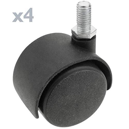 PrimeMatik - Wheel swivel castor of nylon without brake 40 mm M6 4 pack