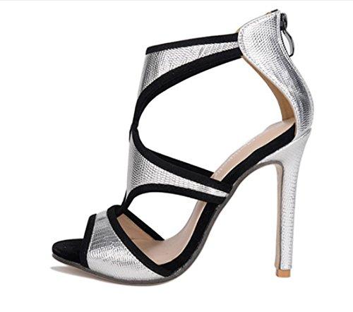 YCMDM Mode Femmes Chaussures à talons hauts Chaussures élégantes Sandales Chaussures simples Silver