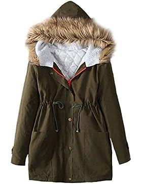 YOGLY Mujer Invierno Abrigo Medio-Largo, Abrigo con Capucha de pelo Chaquetas Gruesas de Algodón