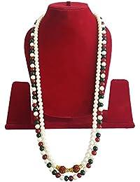 100 % Pearl Rudarksha Mala / Pearl Mala For Women Groom / Moti Necklace For Women Necklace For Women And Girls...