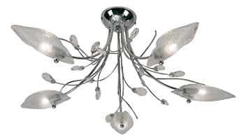 oaks lighting cyprus lustre 5 lampes pour plafond bas finition chrome brillant avec abat jours. Black Bedroom Furniture Sets. Home Design Ideas