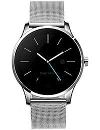 Classic salud Metal Smartwatch con Bluetooth Monitor de frecuencia cardíaca para Android plata acero Watchband