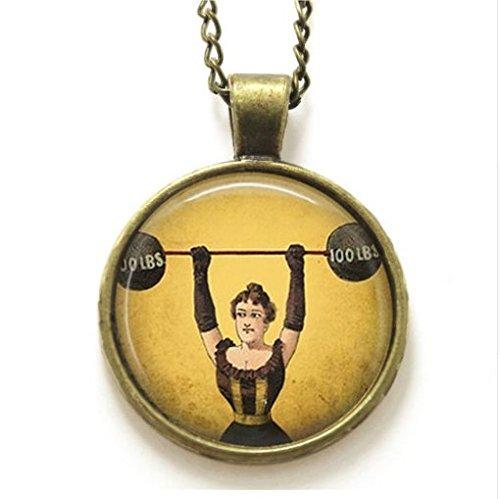 Große Damen Halskette, Gewichtheben Zirkus freakshow Sideshow Halskette Kraftsport