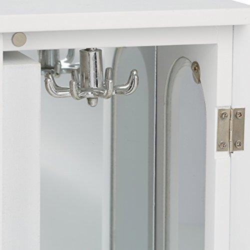 Relaxdays Schmuckkästchen mit Tür H x B x T: ca. 30 x 26 x 11 cm großer Schmuckkasten mit 4 Fächern Schmuckschrank aus Holz mit Schubladen und Spiegel Schränkchen mit Schmuckhalter für Ketten, weiß - 7