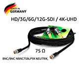 Sommer Cable - Cavo Video Coassiale BNC 75 Ω - HD/3G/6G/12G-SDI / 4K-UHD SC-Vector 0.8/3.7 - BNC/BNC NBNC75BLP9X NEUTRIK, Nero (10m) - Made in Germany by Sommer Cable