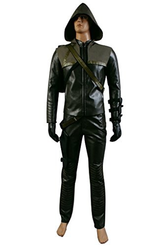 Kostüm Green Cosplay Arrow - Kucos Green Arrow Oliver Quenn Leder Outfit Set Cosplay Kostüm XL Herren