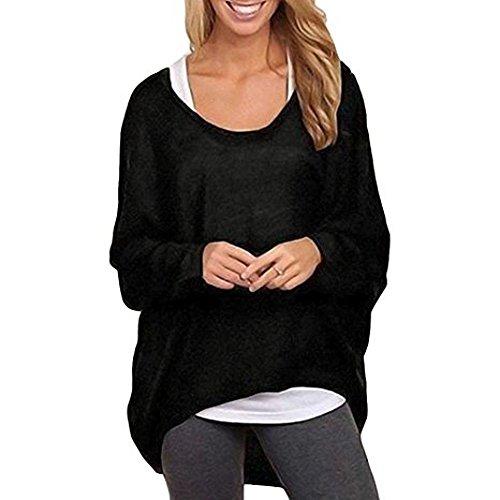 Aoweite Damen Langarmshirts Lose Asymmetrisch Sweatshirt Bluse Tops Oversized Jumper Pullover (Schwarz, XXXL)