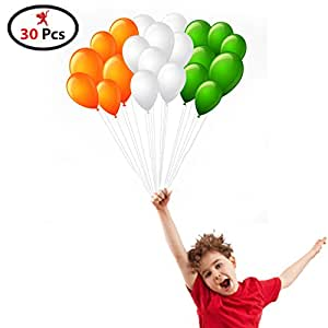 Party Propz Republic Day Decoration Tricolour Independence Day Special Tri Colour Balloons, Orange/Green/White (Pack of 30)