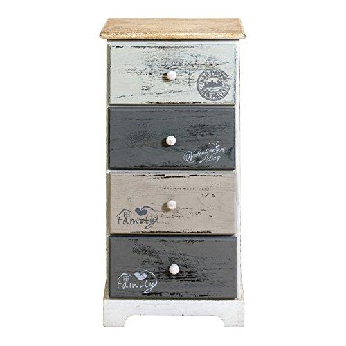 Rebecca mobili cassettiera comodino 4 cassetti legno paulownia bianco grigio shabby vintage camera bagno (cod. re4333)