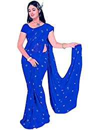 Amyaa Fashion Women's Chiffon Saree With Blouse Piece (Gsar_Amyaa14 _Blue)